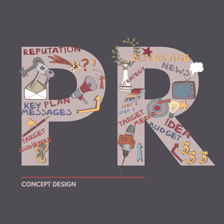 public relations: Public Relations color design concept. Includes hand drawn elements. Can be used icon or illustration for cover, presentation or proposal.