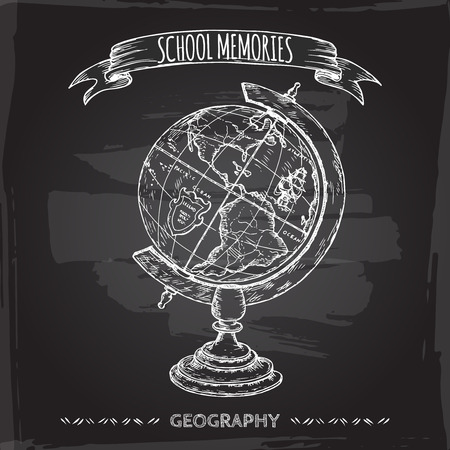globe hand: Vintage globe hand drawn sketch placed on blackboard background. School memories collection. Great for school, education, book shop, retro design. Illustration