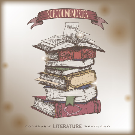 Color book stack  sketch placed on old paper background. School memories collection. Great for school, education, book shop, retro design.