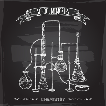 chemistry lab: Vintage chemistry lab equipment hand drawn sketch placed on old blackboard background. School memories collection. Great for school, education, lab, retro design. Illustration