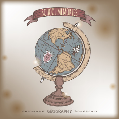 globe hand: Color antique globe hand drawn sketch placed on old paper background. School memories collection. Great for school, education, book shop, retro design.