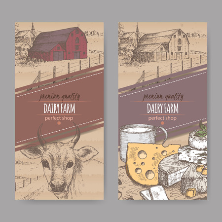 cows red barn: Set of two color dairy farm shop labels with farmhouse, cow, cheese and cup of milk. Placed on cardboard background. Includes hand drawn elements. Illustration