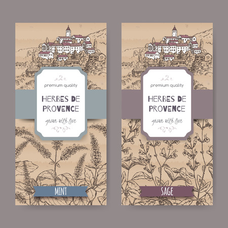 herbes: Two Herbes de Provence labels with Provence town landscape, mint and sage sketch. Culinary herbs collection. Great for cooking, medical, gardening design. Illustration