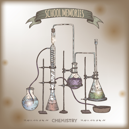 chemistry lab: Vintage color chemistry lab equipment hand drawn sketch placed on old paper background. Schoo, memories collection. Great for school, education, lab, retro design. Illustration