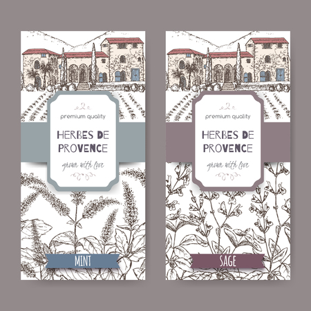 officinalis: Two Herbes de Provence labels with cottage, mint and sage sketch on white background. Culinary herbs collection. Great for cooking, medical, gardening design. Illustration