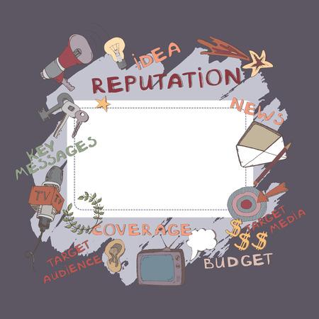 relaciones publicas: Plantilla de la cubierta del color de la propuesta relaciones públicas, presentación, folleto o tarjeta de visita. Características de mano dibujado señales de PR y símbolos como público objetivo, mensajes clave, los medios de comunicación de destino.