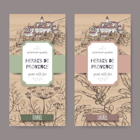 provence: Two Herbes de Provence labels with Provence town landscape, fennel and laurel sketch. Culinary herbs collection. Great for cooking, medical, gardening design. Illustration