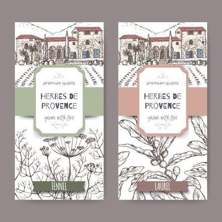 herbes: Two Herbes de Provence labels with Provence cottage landscape, fennel and laurel sketch. Culinary herbs collection. Great for cooking, medical, gardening design.