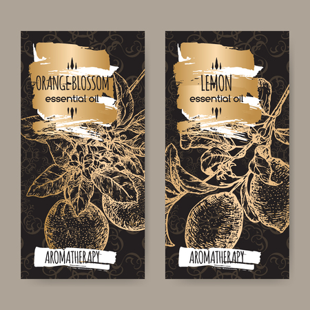 orange blossom: Set of two labels with Lemon branch and orange blossom on elegant black lace background. Aromatherapy series. Great for traditional medicine, perfume design, cooking or gardening.