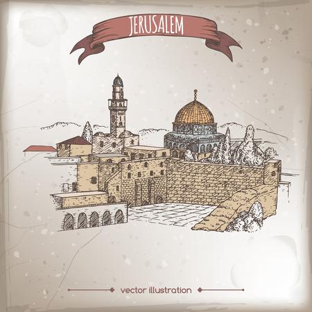 Vintage reizen illustratie met Klaagmuur en de Koepel van de Rots, Jeruzalem, Israël. Hand getrokken schets. Geweldig voor koffie, restaurant, cafe advertenties, reisbrochures, labels.