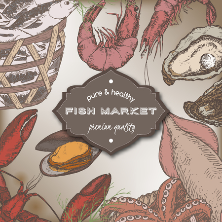 shrimp cocktail: Color vintage fish market template with fish and seafood baskets, shrimps, lobster, oysters. Great for markets, grocery stores, organic shops, food label design. Illustration