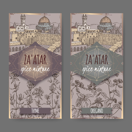 vulgare: Two Zaatar spice mixture labels with Jerusalem town landscape, thyme and oregano sketch. Culinary herbs collection. Great for cooking, medical, gardening design. Illustration