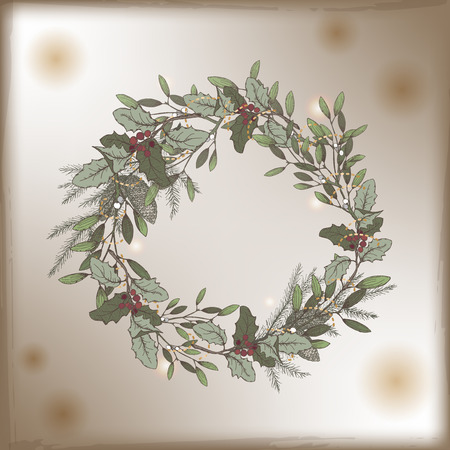 pine wreath: Color vintage Christmas card template with mistletoe and pine wreath decorations. Based on hand drawn sketch. Great for greeting cards and holiday design. Illustration