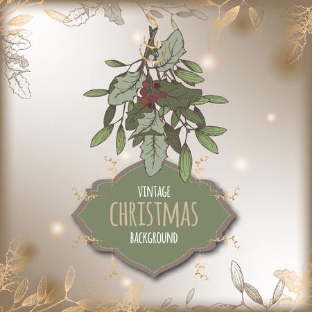 Farbe Jahrgang Weihnachten-Vorlage mit Mistelzweig und Rahmen. Basierend auf der Hand gezeichnete Skizze. Groß für Grußkarten und Feiertagsentwurf.