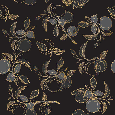traditional medicine: Seamless pattern with black and golden apple sketch. Great for traditional medicine, perfume design, cooking or gardening.