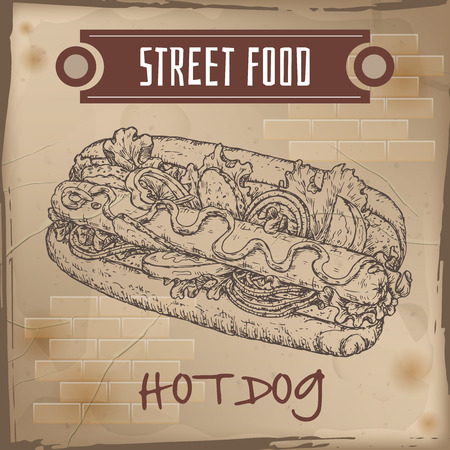 american cuisine: Hot dog sketch on grunge background. American cuisine. Street food series. Great for market, restaurant, cafe, food label design. Illustration