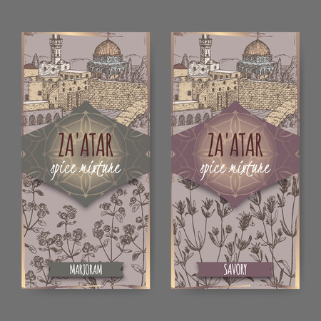 marjoram: Two Zaatar spice mixture labels with Jerusalem town landscape, marjoram and savory sketch. Culinary herbs collection. Great for cooking, medical, gardening design. Illustration