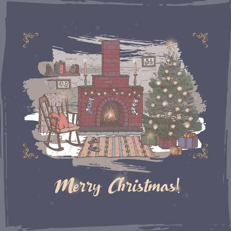 Vintage Romantische Kaart Kerstmis Met Kleur Gezellige Woonkamer ...