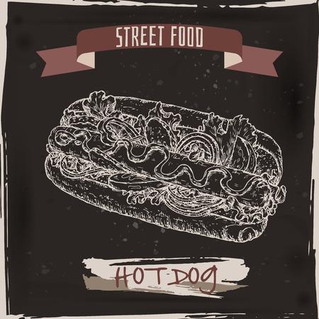 american cuisine: Hot dog sketch on black grunge background. American cuisine. Street food series. Great for market, restaurant, cafe, food label design. Illustration