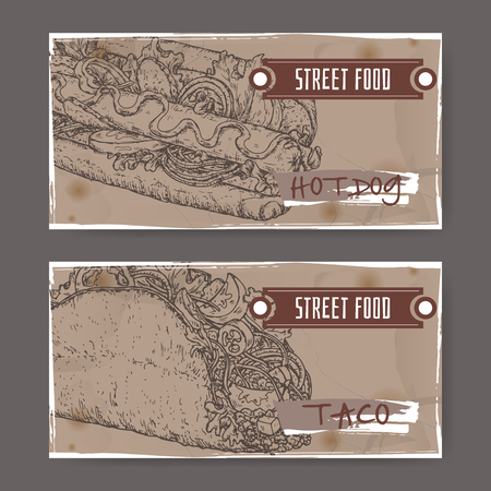 american cuisine: Ste of two landscape banners with hot dog and taco sketch. American and Mexican cuisine. Street food series. Great for market, restaurant, cafe, food label design.