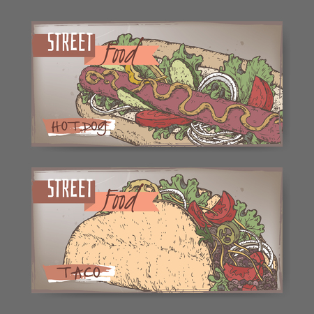 american cuisine: Set of two landscape banners with hot dog and taco color sketch. American and Mexican cuisine. Street food series. Great for market, restaurant, cafe, food label design.