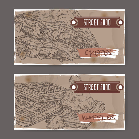 french label: Set of two landscape banners crepes and with Liege waffles. French and Belgian cuisine. Street food series. Great for market, restaurant, cafe, food label design. Illustration