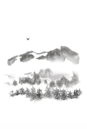 Japanse stijl sumi-e berg vogel inkt schilderij. Geweldig voor wenskaarten of textuurontwerp. Stockfoto