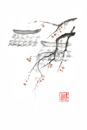 Japanese style sumi-e roofs and apples ink painting. Hieroglyph featured means sincerity. Great for greeting cards or texture design.