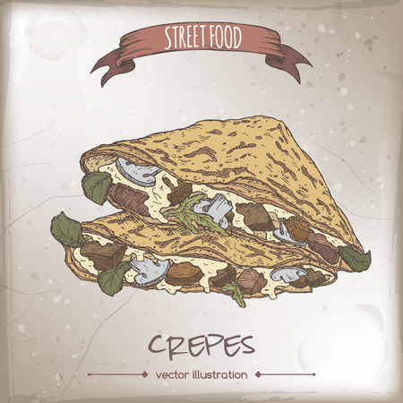 Crepes with meat, cheese and mushrooms color sketch on grunge background. French cuisine. Street food series. Great for recipe books, markets, restaurants, cafe, food label design.