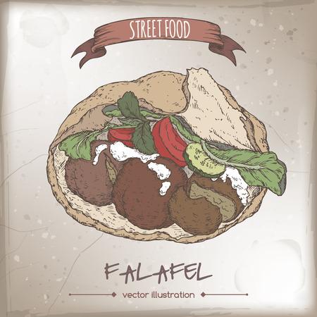 pita bread: Falafel in pita color sketch on grunge background. Middle eastern cuisine. Street food series. Great for market, restaurant, cafe, food label design. Illustration