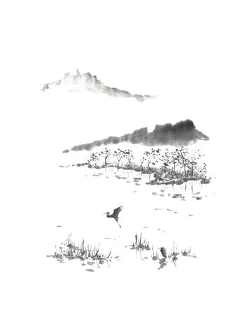 サギと和風墨絵湖や水墨画します。 写真素材