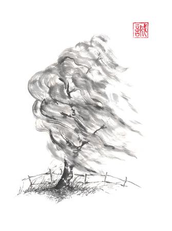 風和風墨絵水墨画の柳の木。
