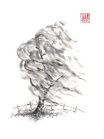 Willow tree in the wind Japanese style sumi-e ink painting. Stock Photo