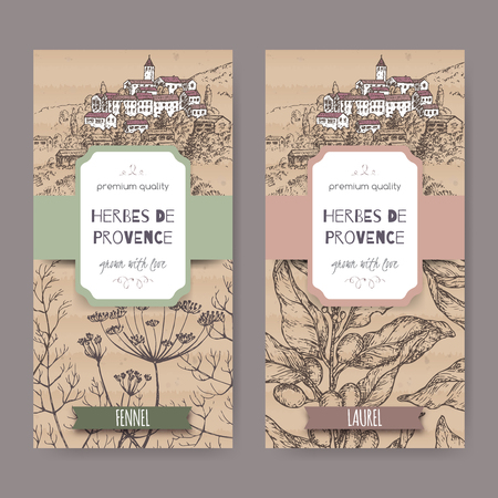 foeniculum: Two labels with Provence town landscape, fennel and laurel sketch.