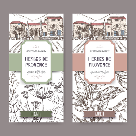 Two labels with Provence cottage, fennel and laurel sketch.