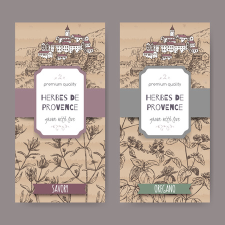 herbes: Two Herbes de Provence labels with town, savory and oregano.