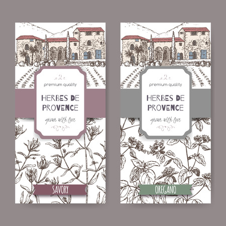 herbes: Two Herbes de Provence labels with cottage, savory and oregano. Illustration