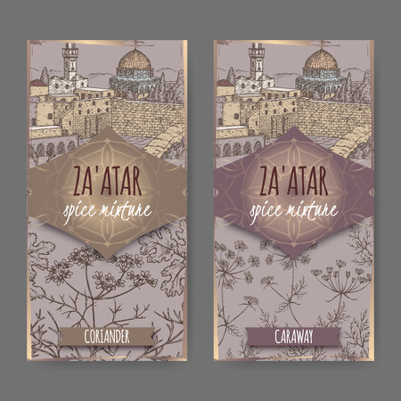 Two Zaatar labels with Jerusalem landscape, coriander and caraway sketch.