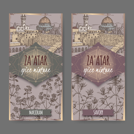 Two Zaatar spice mixture labels with Jerusalem town landscape, marjoram and savory sketch. Culinary herbs collection. Great for cooking, medical, gardening design. Vettoriali