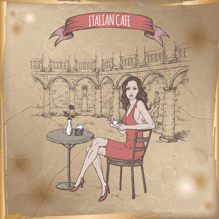renaissance woman: Vintage travel illustration with Italian street cafe and girl drinking coffee. Hand drawn sketch. Great for coffee, restaurant, cafe ads, travel brochures, labels.