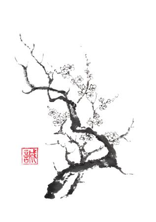 일본식 sumi-e 피 매 화 나무 잉크 그림입니다.