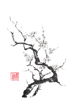 Japanse stijl sumi-e bloeiende pruimenboom inkt schilderij.