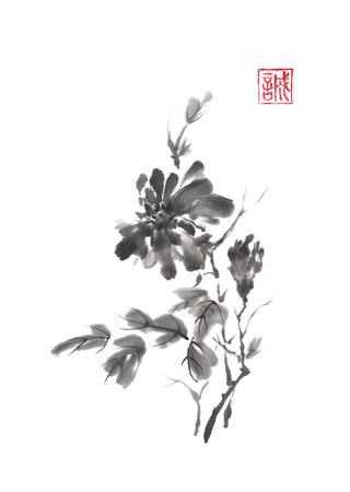 Japanese style original sumi-e chrysanthemum branch ink painting.