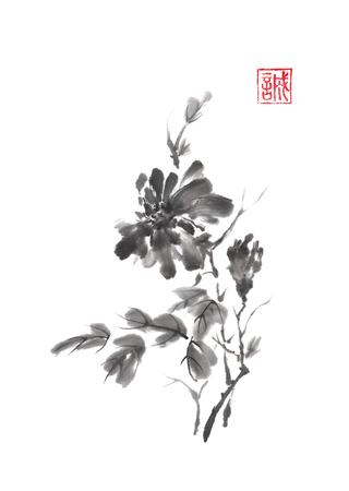 Japanse stijl originele sumi-e chrysanthemum tak inkt schilderij.