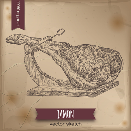 deli meat: Vintage jamon template placed on old paper background.