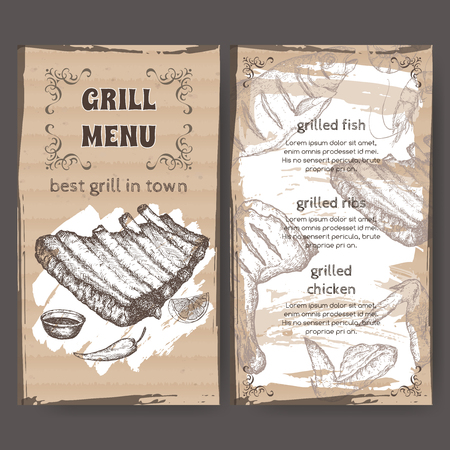 savoury: Vintage grill restaurant menu template with hand drawn sketch Illustration
