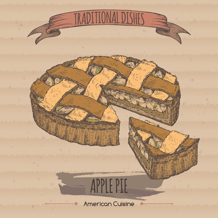 simple store: Color vintage apple pie sketch on cardboard background. Traditional dishes collection.