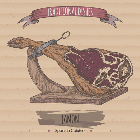 Color vintage jamon sketch on cardboard background. Traditional dishes collection.