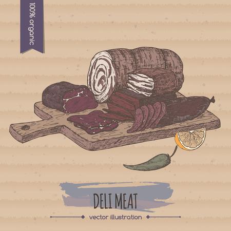 Color vintage deli meats platter template placed on cardboard background.