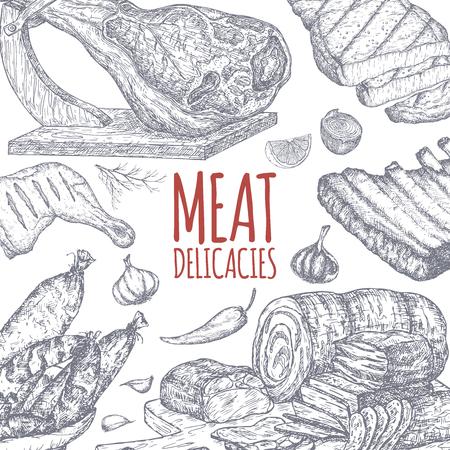 手にした肉料理 tamplate には、スケッチが描かれています。